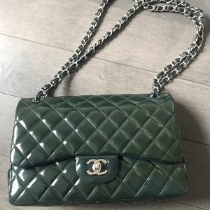 Chanel Classic Jumbo Flap Bag - Green/Navy